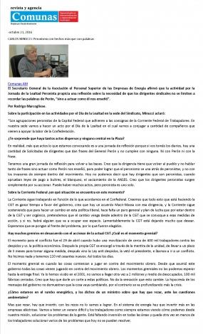 Reportaje en las Comunas del 21-10-16