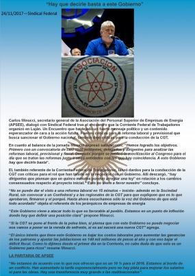 Nota a Carlos Minucci en Sindical Federal